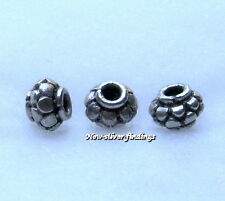 925 Bali Sterling Silver 5x7mm 10pcs Lantern Shape Spacer Beads Handcrafted New