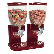Red Double Canister Dry Cereal Dispenser Organizer Goods Candy Nuts Oatmeal