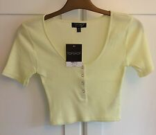 TOPSHOP Ribbed Yellow Crop Top Size UK 10 US 6 BNWT RRP £12 $20
