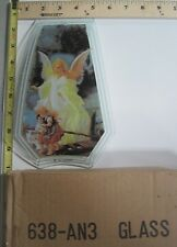 FREE US SHIP OK Touch Lamp Replacement Glass Panel Angel with Children 638-AN3