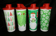 Tupperware JOLLY HOLIDAY Christmas TUMBLERS Set of 4 NEW 16 oz. SNOWMAN Green