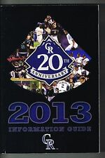 2013 Colorado Rockies MLB Baseball Media GUIDE