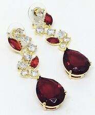 Melania Trump Jewelry Oval Cut Simulated Ruby Earrings Gold Tone