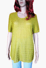 VIDI Italy Womens BNWT Green Short Sleeve Knit Casual Long Blouse Top sz 14 AN9