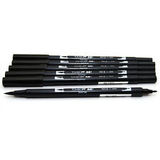 6 X BLACK Tombow ABT Twin Pen. Double Ended Artist & Craft Dual Brush Marker.