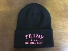 TRUMP NO BULL $HIT EMBROIDERED  Black Cuffed Beanie with Neon Pink Embroidery