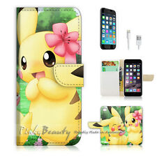 "iPhone 6 (4.7"") Print Flip Wallet Case Cover! Cute Pikachu and Girl Friend P0168"