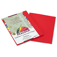 Pacon Peacock Sulphite Construction Paper 76 lbs 9 x 12 Holiday Red 50 Sheets