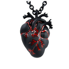 Anatomical Heart Black & Bloody Necklace Pendant Zombie Horror Halloween Gothic