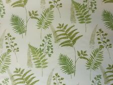 PRESTIGIOUS MANILLA EVERGREEN CREAM GREEN LEAF PRINT RETRO COTTON CURTAIN FABRIC