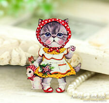 4pcs Vintage Cat Handmade Wood Wooden Charms / Pendants HW044A