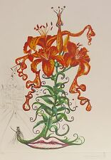 "SALVADOR DALI ""Tiger Lilies of the Theatre"" HAND SIGNED COA Surrealistic Flowers"