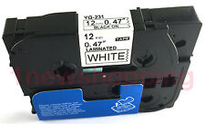 Black on White Tape Label Compatible for Brother TZ TZe 231 Tze231 P-Touch 12mm