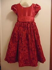 Cinderella sz 6X short sleeved/long length Solid Red Girls dress/embellishments