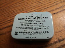 Vintage Vaporole Aromatic Ammonia Tin from Burroughs Wellcome