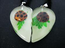 PAIR RARE REAL LADYBUG GLOW LUCITE HEART PENDANT INSECT JEWELRY TAXIDERMY GIFT