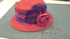 Red Hat Ladies of Society 100% Wool Felt Hat Brand Something Special + Necklace