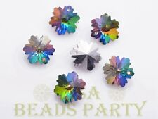 Hot 10pcs 14X7mm Snowflake Faceted Glass Pendant Loose Spacer Beads Colorful