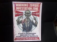 FUNNY A5 LAMINATED SIGN  WARNING ZOMBIE INFESTATION ZONE