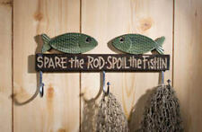 "Cute! WOODEN FISHING ROD HOLDER ~ COAT RACK ""Spare the Rod Spoil the Fishing"""