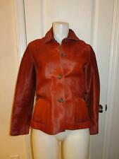 WOMENS ROZAE NICHOLS RED PONY HAIR BUTTON DOWN TWO POCKET LINED JACKET - SIZE S