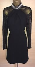 Exquisite New Karen Millen Black Lace Sleeve Jewelled Neck Dress UK12 Stunning