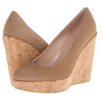 Stuart Weitzman Corkswoon Tan Nubuck Haze Beige Suede Cork Wedge Pump 37