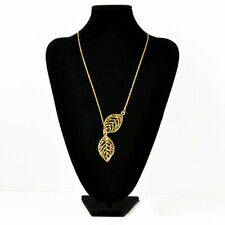 Double  Gold Silver Leaves pendant Clavicle Necklace Wedding Jewelry Gifts