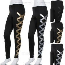 Women's Side X Metallic Band Leggings Full Length Spandex Moto Sexy S M L