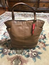 Coach 23662 Park Carrie North/South Leather luggage brown shoulder purse tote