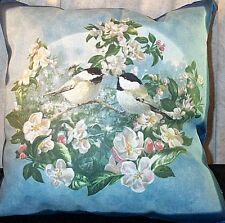 "Pillow Decor  Birds Blue Black and White 17"" inches Square NEW"