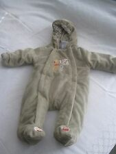 DISNEY BABY TAN VELOUR SNOWSUIT-0/3 MO-BARELY WORN-100% POLYESTER-HOODED-CUTE