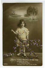 1910s Child Children CUTE LITTLE GIRL with Spring blossoms photo postcard