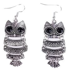 Lady Antique Silver Dangle Owl Earrings Ear Stud Multilevel Jewelry Fahion