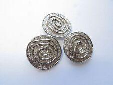 1980's Med Vintage Circles Silver-finish Coat Jacket Metal Buttons-Set 25mm