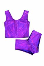 2PC SMALL Purple Holographic Crop Top & Cheeky Booty Shorts Set Ready To Ship!