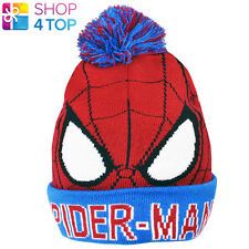 SPIDERMAN BOBBLE CUFF KNITTED HAT BEANIE CAP JUNIOR MARVEL OFFICIAL LICENSED NEW