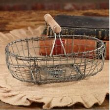 Primitive~Reproduction  Antique`Oval Farmhouse Wire Basket`Eggs` Country House`
