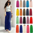 Women Double Layer Chiffon Pleated Maxi Dress Elastic Waist Skirt Candy Color