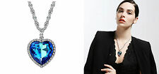 Brand New Shiny Blue Heart Swarovski Elemento Cristallo COLLANA CIONDOLO DONNA REGALO