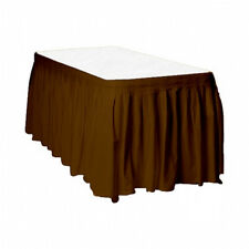 "2 Plastic Table Skirts 13' X 29"" Streches-19' - Brown"
