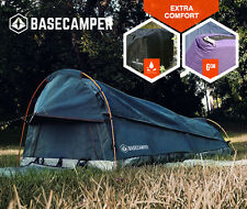 BASECAMPER King Single Swag Tent Camping Swags Canvas Tent Deluxe Aluminum Poles