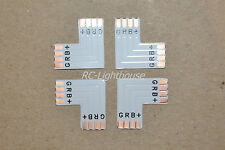 "5050 RGB 4 PIN ""L"" Connector for LED Light Strips Right Angle 4pc"