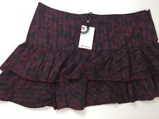 Ben Sherman Ladies Burgundy Patterned Mini Skirt Size L NEW