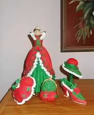SET 6 VICTORIAN HOLIDAY ORNAMENTS DRESS SHOE UMBRELLA HANDBAG HAT & STAND - MINT