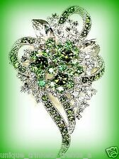AUGUST BIRTHSTONE PERIDOT GREEN CRYSTAL FLOWER CORSAGE BROOCH PIN GIFT FOR WOMEN