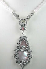 Statement Rose Quartz Pink Mother of Pearl & Marcasite Sterling Silver Necklace