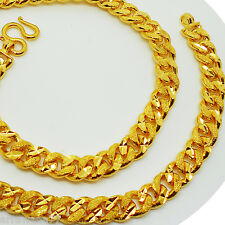 "Men's Chain 23K 24K THAI BAHT YELLOW GOLD GP NECKLACE 18"" Jewelry 9 mm"