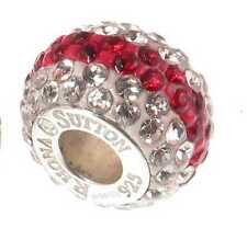 *New* Rhona Sutton 925 Sterling Silver red & white crystal shamballa charm bead