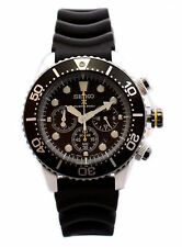 NEW Seiko SSC021P1 Mens Solar Diver Chronograph Black Dial Rubber Watch SSC021